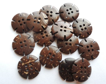 15Pcs 20mm Coconut button   Brown (W633)