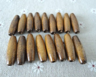 30 Pcs 28X9mm Oval Wood Bead  Brown  (W730)