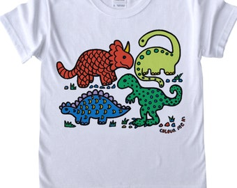 Childrens T shirt to Colour in Dinosaurs T Rex Robots Doodle Colouring In Tee Shirt Boys Designs Boys T shirts Childrens' Fun Activities