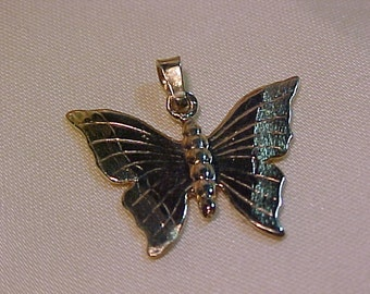 10K Solid Yellow  Gold Butterfly Pendant/Charm --FREE SHIPPING
