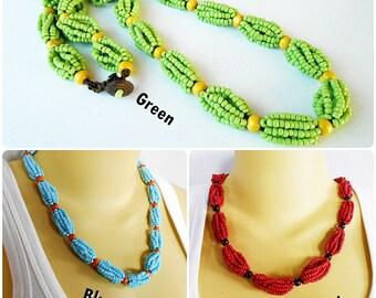 Beads Statement Necklace, Beadwork Necklace Handmade Thailand Jewelry. (JN1020)