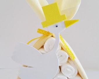 Stork Bundle Baby Shower Gift, Stork Baby Shower Center Piece, Baby Shower Decor, Gender Neutral Gift, Sip and See Centerpiece