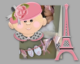 Paris Baby Shower - Ooh La La Banner with French Baby and Eiffel Tower