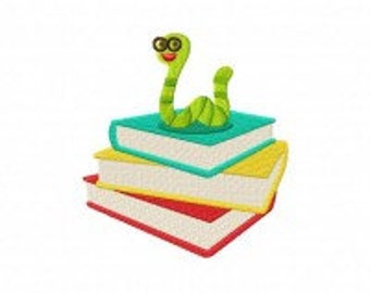 Bookworm Machine Embroidery Design