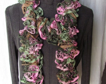 Starbella spring boquet knitted ruffled scarf - variegated green, tan, and pink scarf