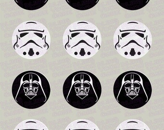 Star Wars Darth Vader & Storm Trooper Helmet Edible Icing Cupcake Decor Toppers in your choice of assortment - SW3