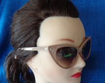 Vintage Retro Tan Cat Eye Sunglasses, Taupe Sunglasses, Beige Cat Eye Sunglasses