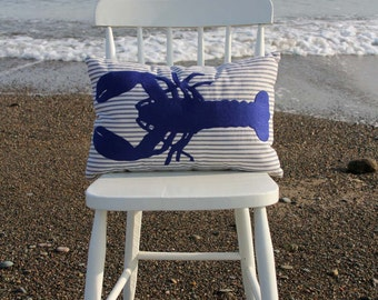 "Arisaig Blue Lobster Pillow Cover and form - Royal Blue Felt Lobster on Blue and White Cotton Stripe - 18""x12"""