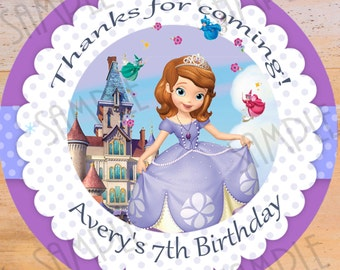 "Disney Sofia the first Favor Tags - Printable 2.5"" Birthday Party Favor Tags Printable Treat Bag Label Sofia the first"