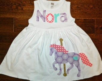 Carousel Horse Applique Dress-Personalized Dress