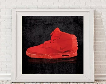 Square Nike Air Yeezy 2 original poly artwork Poster, printable, decor, hip hop - Kanye West