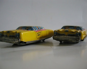 Vintage 50's TN [Japan/Japanese] Tin Cars - Two Taxis