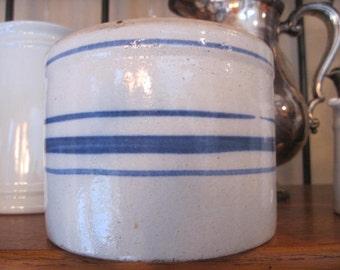 Awesome// Antique// Salt Glaze// Blue Stoneware // Primitive// BLUE Striped// Butter Crock!
