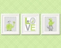 Olive green and grey elephant Nursery Art Print Set - 8x10 -unisex, neutral gender, love, birds, stacked elephant - UNFRAMED