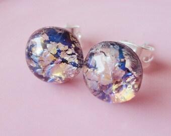 Pink/Purple Opal Round Glass 9mm Post Earring