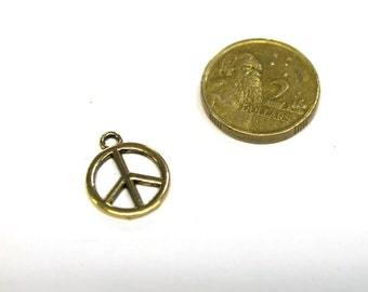 5 x Antique Gold Peace Sign Charm