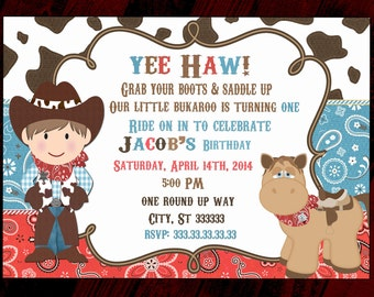 Cowboy invitation,  Western invitation party invitation,  cowboy invite, Cow boy invitation