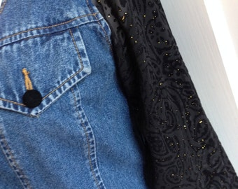 Hot 90s Denim Top with Black Lace Sleeves
