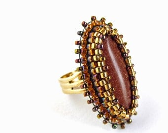 Goldstone Cabochon Adjustable Ring - topaz brown, gold and bronze bead embroidery with sparkling brown goldstone