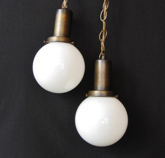 Mid Century Swag Lamp: Mid Century Modern Swag Light Pair White Glass Globe Ceiling