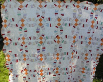 Old Vintage/Antique Quilts Estate Sale Finds for Repair or to Make Old Dolls  Wedding Ring Quilt Amazing Finds!
