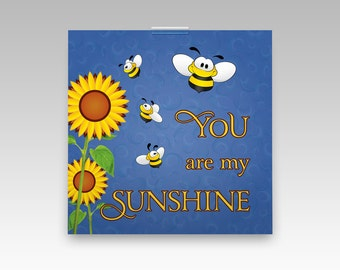 You Are My Sunshine art print for baby nursery decor. Nursery wall art poster for kids room, children art nursery song, 12 x 12 or 20 x 20