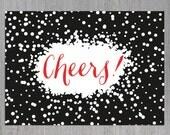 Prost druckbare Karte, Einladung zu einer Feier, Digital Download, festliche Einladung, Feier, Silvester Einladung, Einladung Geburtstag