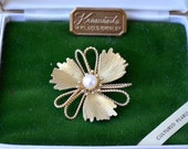 Krementz Gold Overlay Cultured Pearl Flower Pin Textured Vintage