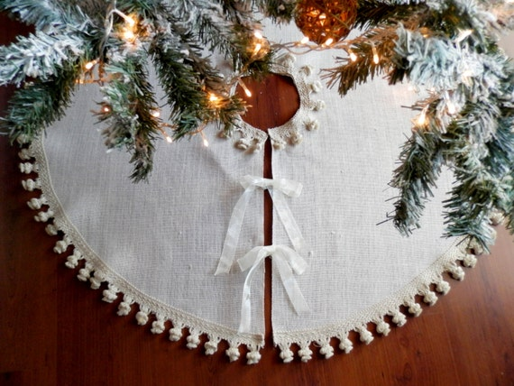 Ivory Burlap 50''- 68'' christmas tree skirt with fringe trim - Choose your size