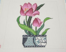 Lee Tulip in Blue and White Oriental Vase Needlepoint Hand Painted Canvas by Theresa Lee