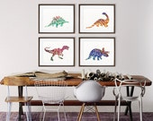 Dinosaur Watercolor Painting - Colorful Geometric Art - 11x14 Prints, Set of 4 - Silhouette Art - Wall Decor, Home Decor, Housewares, Gifts