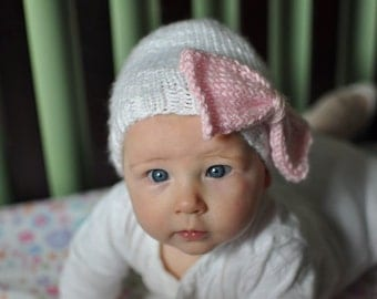 Baby girl pink bow hat - white infant hat with an oversized pink bow - size 0-12 months
