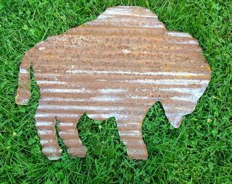 Vintage Corrugated Tin - Bison/Buffalo