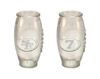 sports team glasses, 49ers glasses, Etched beer glasses, etched football glasses, Customized beer glasses, Man Cave, Gameday glasses
