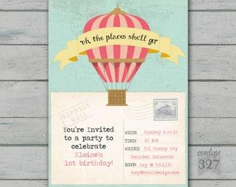 Hot Air Balloon or Travel Birthday Invitation