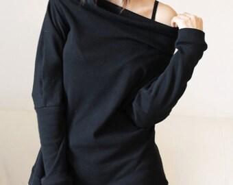 Black sweater blouse, sweatshirt tunic, cotton cowl neck sweatshirt tunic