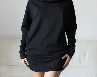 black sweatshirt dress, cotton sweater dress, cowl neck sweatshirt, loose fitting sweater