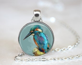 "Kingfisher Bird Pendant Art Jewelry Bird necklace Glass Pendant and 24"" Chain."