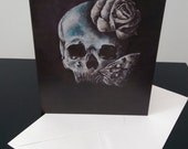 Greetings card blank Skull Moth & Rose tattoo punk  dark art gift birthday