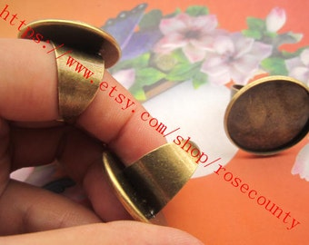 wholesale 50pcs 18mm adjustable antiqued bronze Round Trays 25mm bezel ring blank findings--very strong style