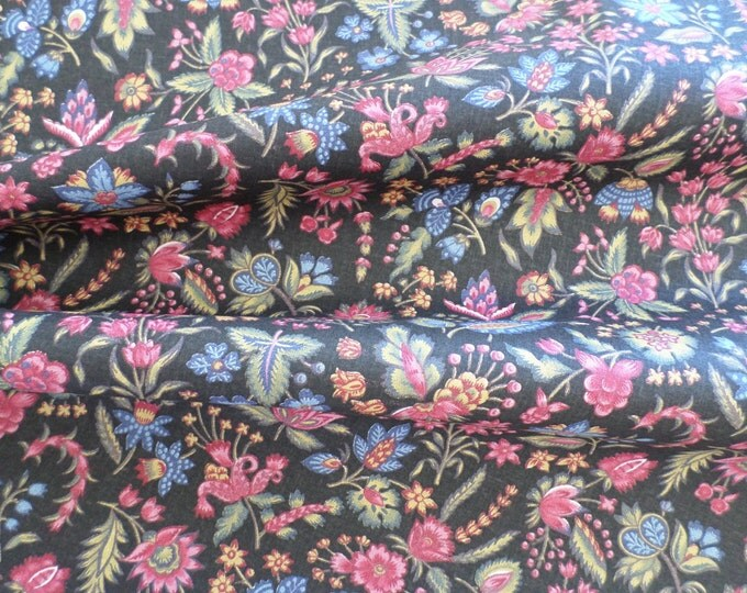Dutch Chintz - Les Petits Bouquets Black 1/2 yd