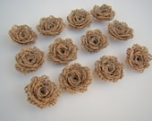 12 Burlap Mini Flower- Handmade Rustic Collection Posey Rose Roses 12 PCS Natural Rustic Wedding Decoration Bridal Decor Card Making
