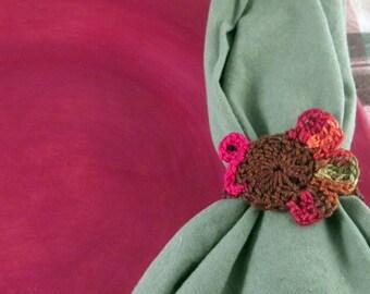 Crochet Thanksgiving Turkey Napkin Ring Pattern Only