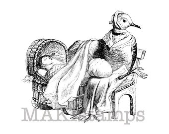 New Baby rubber stamp / Mother Pigeon with baby in cradle /  Unmounted rubber stamp (130604)