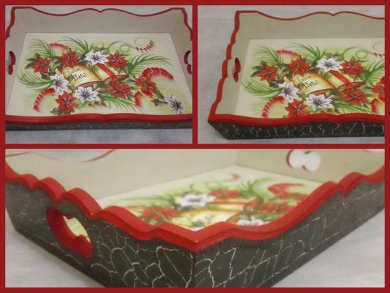 Items similar to christmas serving wooden tray christmas for Bandejas de navidad