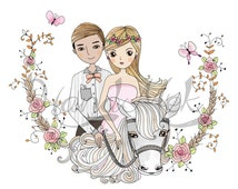 Wedding Clip art. Wedding horse Clipart, wedding frame,instant download, PNG ,JPEG file - 300 dpi