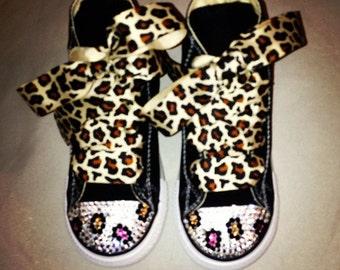 Infant / Toddler Swarovski Customized Leopard Converse