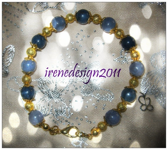 Handmade Gold Bracelet with Blue Jade by IreneDesign2011