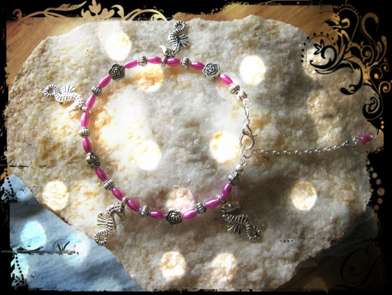 Silver Anklet with Pink Pearls, Seahorses & Roses, Adjustable
