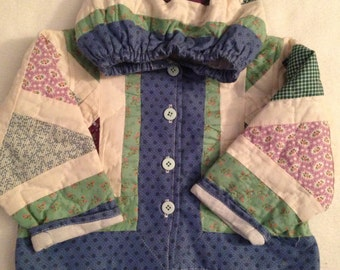 I3   handmade size 12-24 months girls quilted jacket